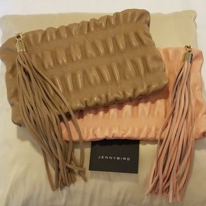 NWOT Jenny Bird large leather ruched clutch